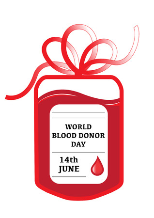 14th: A blood donation bag with tube shaped as a gift bow and the slogan: World Blood Donor Day, 14th June.