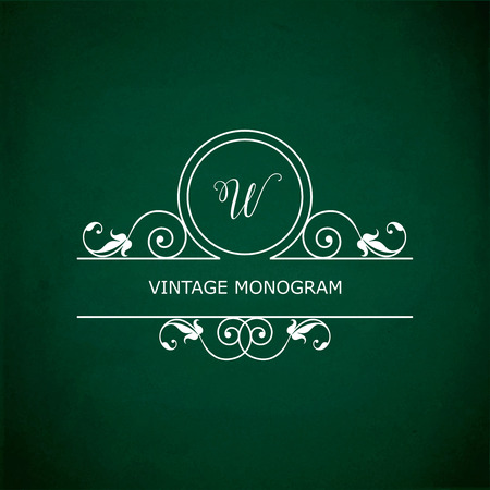 green chalkboard: Monogram of the letter W, in retro floral style on green chalkboard background