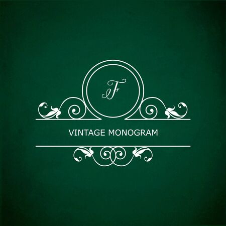 green chalkboard: Monogram of the letter F, in retro floral style on green chalkboard background.