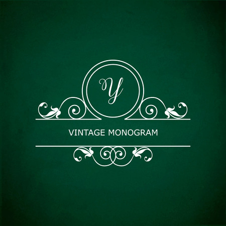 y ornament: Monogram of the letter Y, in retro floral style on green chalkboard background. Illustration
