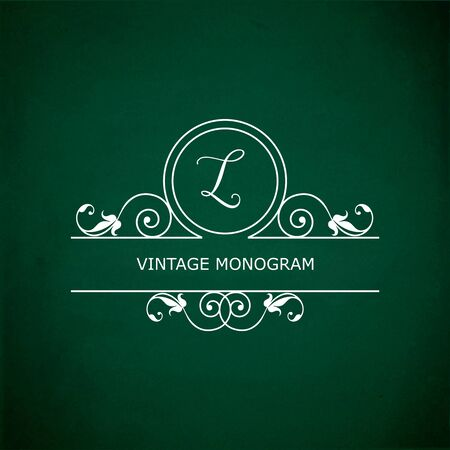 l background: Monogram of the letter L, in retro floral style on green chalkboard background.