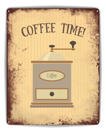 grinder: Retro tin plate style poster. Coffee time caption and old style coffee grinder on pinstripe background.