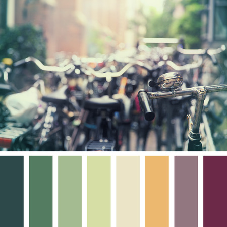 parked bikes: Numerous bikes parked in an Amsterdam street, with intentional shallow focus on the front handlebar. In a colour palette with complimentary colour swatches.
