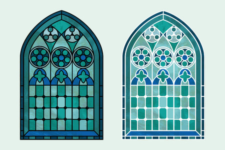 church interior: A Gothic Style stained glass window in cool tones of blue, green and turquoise. Two options with black or white outline. EPS10 vector format Illustration