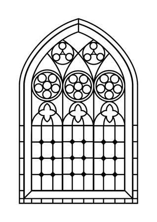 A Gothic Style stained glass window in black and white. Outline drawing  colouring activity page. EPS10 vector format. Vettoriali