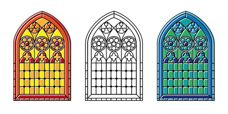 church interior: A set of Gothic Style stained glass window in cool tones, warm toneas and black and white outline. EPS10 vector format