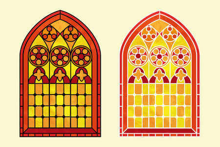 A Gothic Style stained glass window in warm tones of red, orange and yellow. Two options with black or white outline. EPS10 vector format