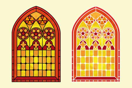 church: Un vitral de estilo gótico en tonos cálidos de color rojo, naranja y amarillo. Dos opciones con el esquema negro o blanco. EPS10 formato vectorial Vectores