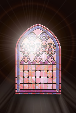 A Gothic Style stained glass window with sunlight shinging through. EPS10 vector format