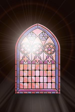 church: Un vitral de estilo gótico con la luz del sol a través shinging. EPS10 formato vectorial