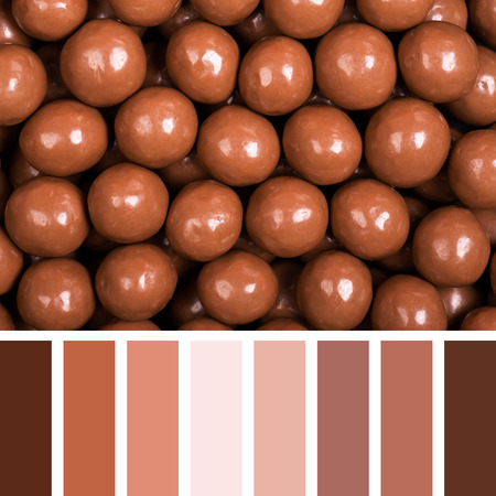 complimentary: Chocolate sweets background. In a colour palette with complimentary colour swatches.