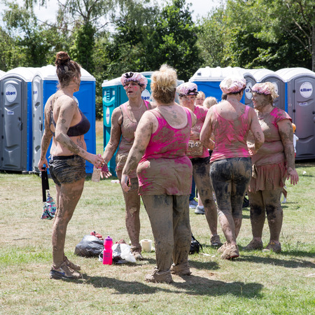 cancer research: SOUTHAMPTON, UK - JULY 4 : Women gather for the annual Race for Life Pretty Muddy fun run, to raise money for Cancer Research. 4 July 2015 in Southampton, UK.