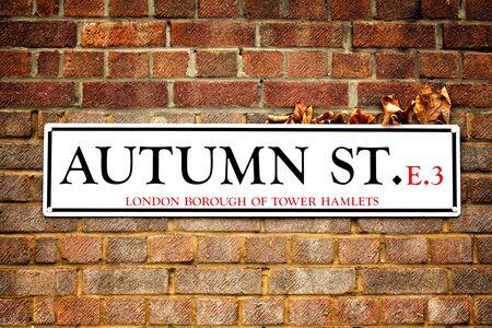 hojas secas: placa de la calle de Londres para St Otoño en Tower Hamlets, Londres del este. El signo tiene hojas secas de otoño atrapados entre él y la pared de ladrillo rojo, destacando las hojas auteamn y concepto de la calle del otoño.
