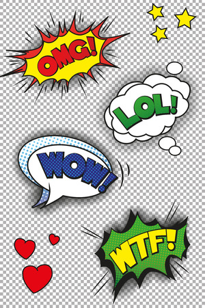 lol: Popart speech bubbles with LOL, OMG, WOW and WTF. EPS10 vector format