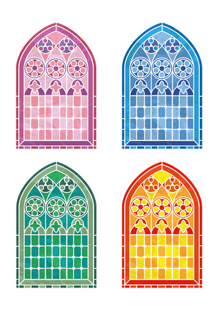 church interior: Stained glass window stencils in four colour variations. EPS10 vector format