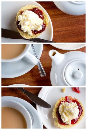 따뜻한 차 한잔과 함께 응고 크림와 잼 scones의 전통적인 영어 오후 차의 삼부작 콜라주.