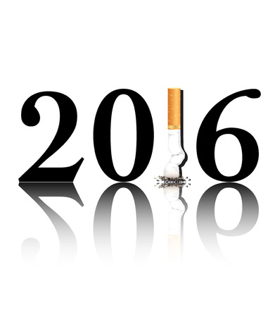 replaced: New Years resolution Quit Smoking concept with the 1 in 2016 being replaced by a stubbed out cigarette. EPS10 vector format.