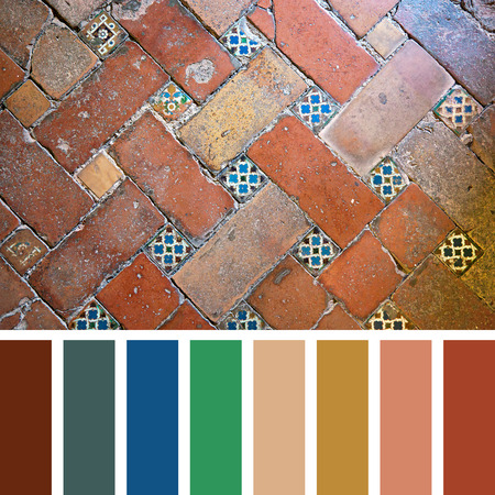 complimentary: Floor detail of the Alhambra Palace, Granada, Spain. In a colour palette with complimentary colour swatches.