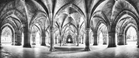 A panorama of the historic Cloisters of Glasgow University. Dramatic black and white processing.