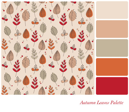 Autum leaves and flowers in retro style and colour scheme. Seamless design set in a colour palette with complimentary colour swatches. EPS10 vector format.