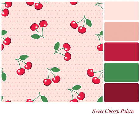 complimentary: Sweet, red cherries, on retro style pink polka dot background. Seamless design set in a colour palette with complimentary colour swatches.  Illustration
