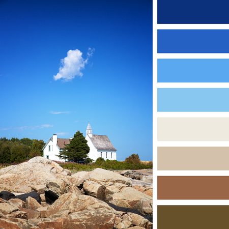 complimentary: The Chapel of Port au Persil, Saint-Simeon, Quebec, Canada. In a colour palette with complimentary colour swatches. Stock Photo