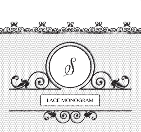 stitched: Letter S black lace monogram, stitched on seamless tulle background with antique style floral border.  vector format.