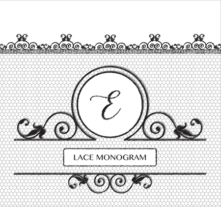 boudoir: Letter E black lace monogram, stitched on seamless tulle background with antique style floral border. EPS10 vector format.