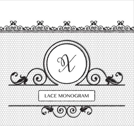 tulle: Letter X black lace monogram, stitched on seamless tulle background with antique style floral border.  vector format.