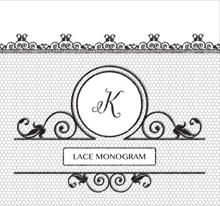tulle: Letter K black lace monogram, stitched on seamless tulle background with antique style floral border.  vector format. Illustration