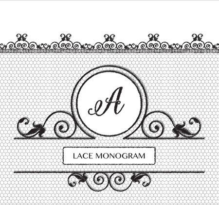 lineas decorativas: Letra A del monograma de encaje negro, cosido en el fondo de tul transparente con estilo antiguo frontera floral. formato vectorial.