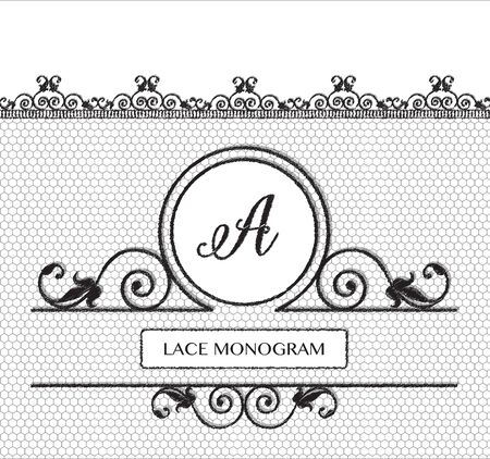 decorative lines: Letter A black lace monogram, stitched on seamless tulle background with antique style floral border.  vector format. Illustration