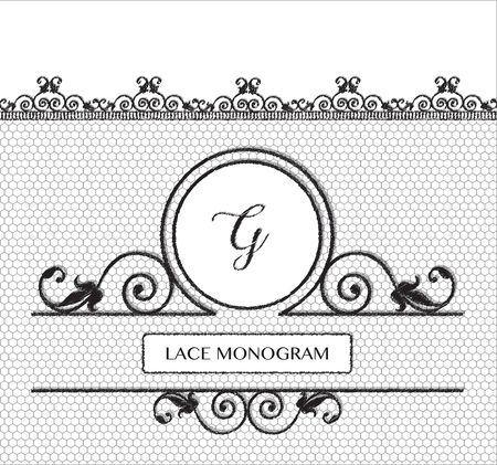 stitched: Letter G black lace monogram, stitched on seamless tulle background with antique style floral border.  vector format.