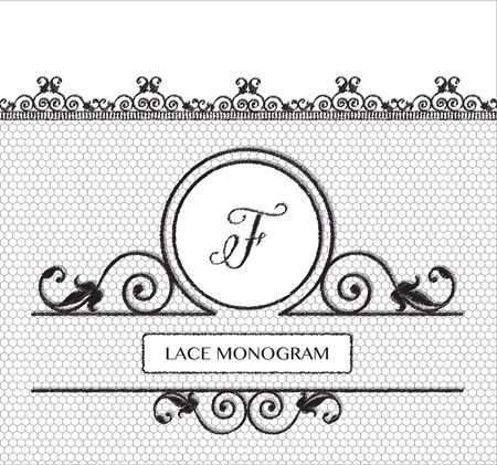 tulle: Letter F black lace monogram, stitched on seamless tulle background with antique style floral border. EPS10 vector format.