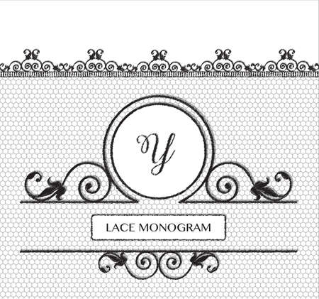 tulle: Letter Y black lace monogram, stitched on seamless tulle background with antique style floral border. EPS10 vector format.