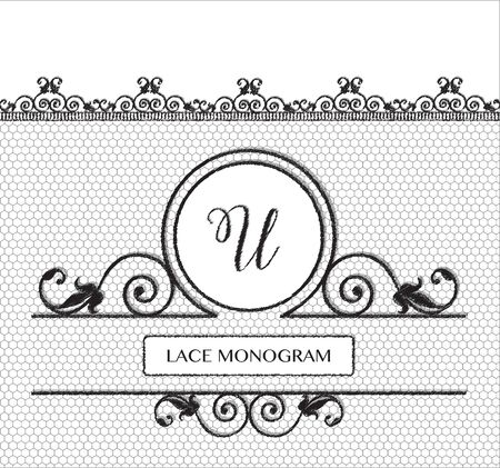 tulle: Letter U black lace monogram, stitched on seamless tulle background with antique style floral border.  vector format. Illustration