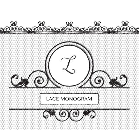 tulle: Letter L black lace monogram, stitched on seamless tulle background with antique style floral border.  vector format.