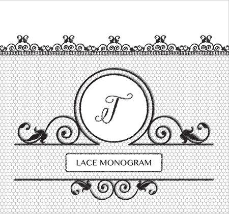 decorative lines: Letter T black lace monogram, stitched on seamless tulle background with antique style floral border. EPS10 vector format.