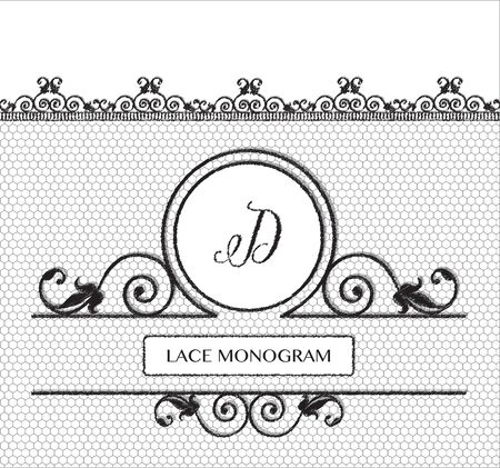 tulle: Letter D black lace monogram, stitched on seamless tulle background with antique style floral border.  vector format.