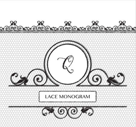 tulle: Letter Q black lace monogram, stitched on seamless tulle background with antique style floral border.  vector format.