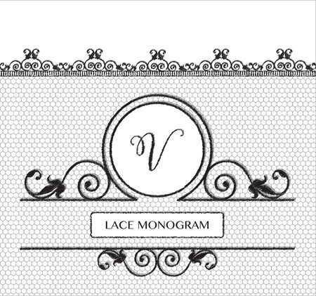 tulle: Letter V black lace monogram, stitched on seamless tulle background with antique style floral border.  vector format. Illustration
