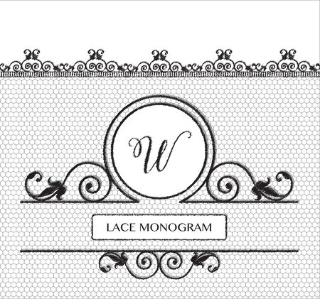 tulle: Letter W black lace monogram, stitched on seamless tulle background with antique style floral border.  vector format.
