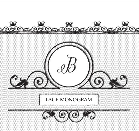 stitched: Letter B black lace monogram, stitched on seamless tulle background with antique style floral border.  vector format. Illustration