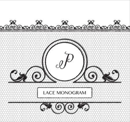 stitched: Letter P black lace monogram, stitched on seamless tulle background with antique style floral border.  vector format.