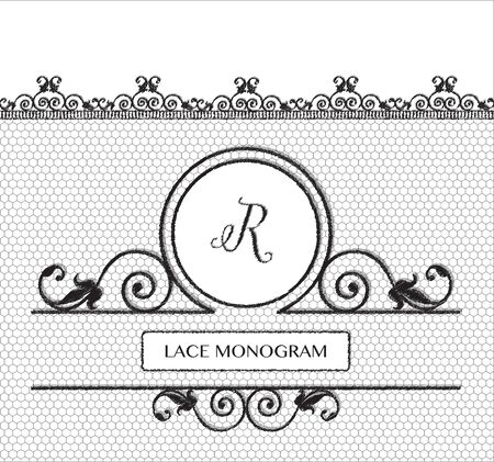 decorative lines: Letter R black lace monogram, stitched on seamless tulle background with antique style floral border.  vector format.