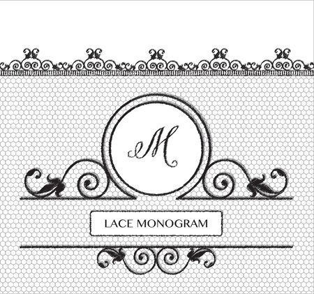 decorative lines: Letter M black lace monogram, stitched on seamless tulle background with antique style floral border.  vector format. Illustration