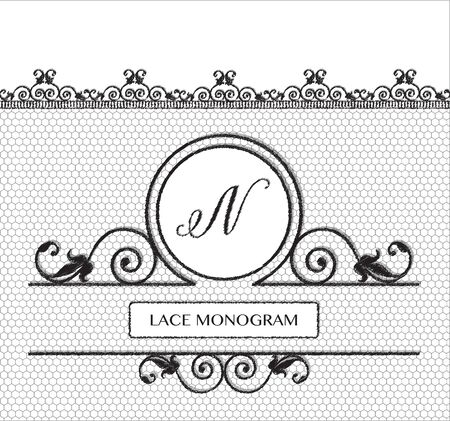 tulle: Letter N black lace monogram, stitched on seamless tulle background with antique style floral border. vector format Illustration