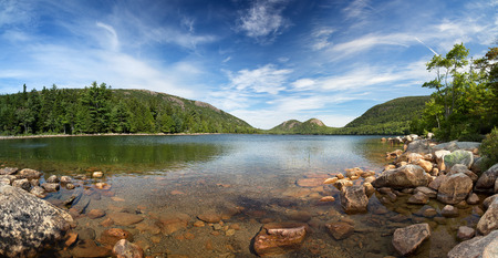 island: A panorama of Jordan Pond, Acadia National Park, Mount Desert Island, maine, USA
