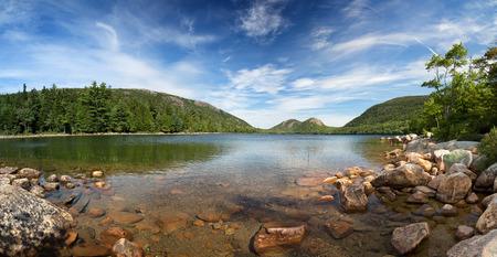 A panorama of Jordan Pond, Acadia National Park, Mount Desert Island, maine, USA