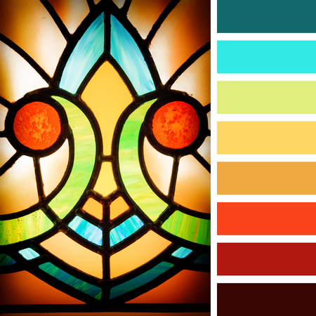 art design: Art deco styles stained glass detail. In a colour palette with complimentary colour swatches.